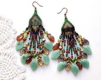 beaded earrings,  ethnic earring,  tribal earrings,   bead earring,   boho earring,   fringe earrings,   beadwork  jewelry, forest , leaves