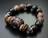 Carved jade Buddha bead and gemstone bracelet - primitive style Buddha bracelet - boho tribal stretch bracelet - woodland fall bracelet