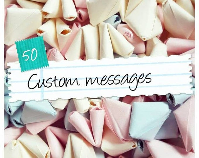 50 custom message SMALL paper origami hearts - wedding favour - simple decor - paper anniversary