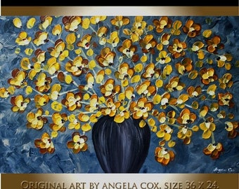 SALE Original Contemporary  Gold Yellow  Flowers   Modern Impasto Palette Knife Painting  MADE2ORDER. Size  36 x 24.