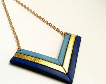 Necklace leather cobalt gold and sky