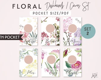 POCKET Size WATERCOLOR FLORAL Dashboards Set 2 - Printable Traveler's Notebook Covers