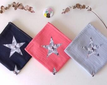 Trio de Langes pour bébé en coton 60x60cm, corail, noir, gris perle et Tissu toucan