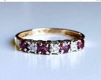 BDAY BONANZA SALE Vintage 10k gold natural ruby and diamond stacking ring band