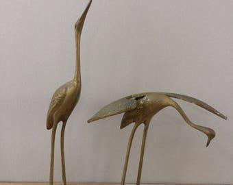 pair of brass crane / Mid Century