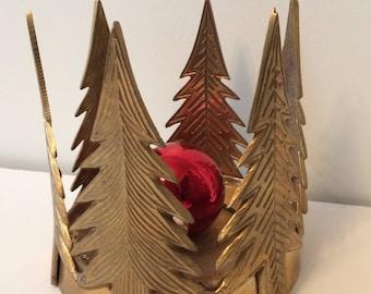 SALE / large vintage brass Christmas tree candle holder / India