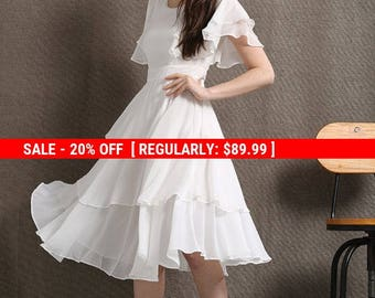 White Chiffon Dress - Floaty Feminine Tiered Skirt Frilly Sleeves Fit & Flare Style Summer Womens Dress - Prom or Party Dress C429