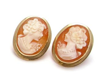 14k Cameo Shell Oval Earrings - 14k Yellow Gold - Carved Shell Woman Silhouette with Necklace - Post Back - Portrait - Weight 3 Grams # 4068