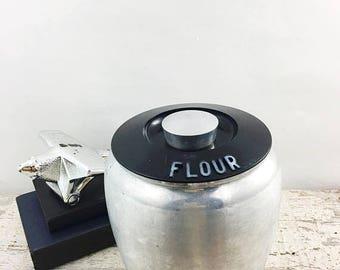 SUMMER SALE Vintage Aluminum Kromex Flour Canister