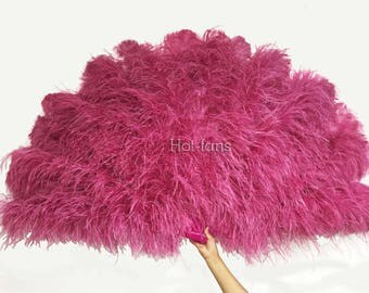 Burlesque Dance 4 Layer fuchsia Ostrich Feather Fan Opened 67'' with giftbox