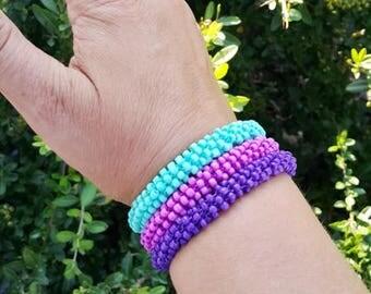 Set 3 of Roll on Bracelet  Crochet Bead Bracelet/Crochet Bracelet/Seed Bead Bracelet/Crochet Bangle/Beaded Bangle/Crochet Jewelry