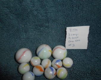 """Three Large """"Shooters""""  and Nine Small Glass Playing Marbles-#2"""