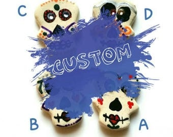 CUSTOM listing for DEB.  Day of the Dead Jewelry,  Sugar Skull Pin, Dia de los Muertos,  Halloween  Accessories