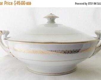 ON SALE Vintage, Sone China, Kent Pattern, 2456, Japan, Round Covered Vegetable , Black, Gold, Serving