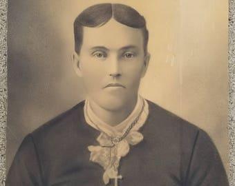 Antique 1800's 19th Century Victorian Charcoal Portrait, Vintage, Art, Portrait, Young Man