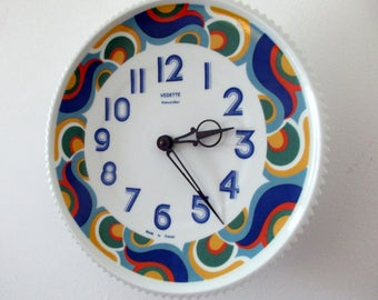 French 1960s Vedette & LIMOGES Porcelain Wall Clock - with Limoges production stamp - Beautiful MOD Colors - Very Unique - Colorful - COOL!
