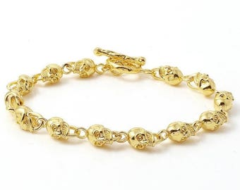 ON SALE Rare Mini Skull Link Bracelet in 18k Yellow Gold Made in USA