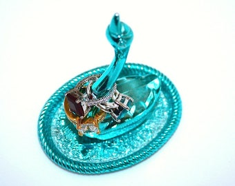 Swan Ring Holder ~ Vintage Metallic Blue Jewelry Tray For Rings ~ Taiwan
