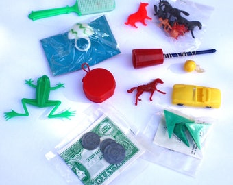 Plastic Carnival Prizes ~ Vintage Lot of Party Favors, Dime Store, Gumball, Small Hong Kong Toys
