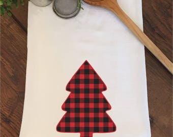 Buffalo Plaid Rustic Red Black Tree Woodland Flour Sack Hand Towel Tea Dish Kitchen Christmas Gift Bathroom Wedding Bridal Shower Favors