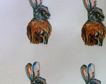 Handsome Hare Wrapping paper recycled Two tags HARE gift wrap, gift paper, gift tags