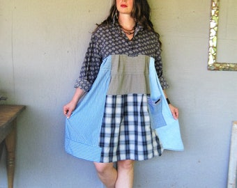 upcycled clothing patchwork shirt dress Aline tunic recycled cotton Bohemian Gypsy clothing X L 1 X Wearable art Boho LillieNoraDryGoods