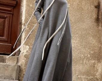SALE New 2016 Fall  Maxi Dress / Dark Grey  Kaftan Cotton  Dress /Side Pockets  Dress / Extravagant Cotton Party Dress /Daywear Dress A03377