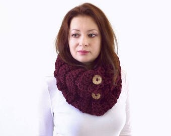 SALE Knit Buttoned Chunky Cowl Scarf Neck Warmer | The Turin