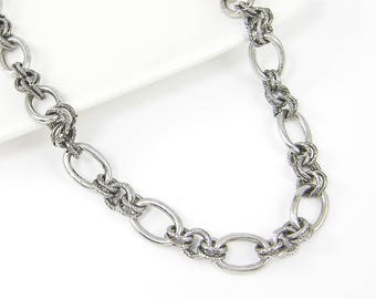 Antique Silver Chain Necklace - Heavy Large Textured Circle and Oval Link Silver Chain Long 29 Inch Large Cable Chain |NB3-4