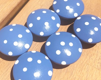 CLEARANCE - Periwinkle Polka Dot Hand Painted Drawer Knobs - perfect for dresser drawers, closet doors - Great addition to a nursery