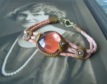 Vintage Glass Jewel Pink Leather Brass and Clay Fairy Bracelet Boho Gypsy  Signed AST