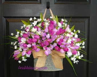 spring wreath tulips wreaths for front door wreaths Valentine's day gift decorations  outdoor