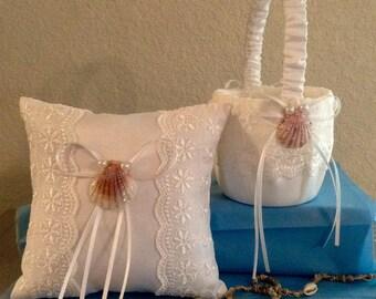 Ring Bearer Pillow and Flower Girl Basket Set..Beach Theme..Destination Wedding