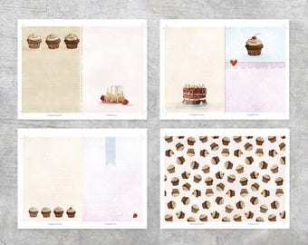 Printable 5x7 Journal Pages - Illustrated Pages - Inserts - Junk Journal - Cupcakes - Cakes -