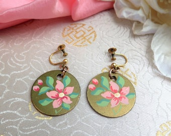 Vintage Hand Painted Earrings - Vintage Pink and Green Earrings - Drop Earrings - Flower Earrings - Disk Earrings - Made in Ireland - 1970s