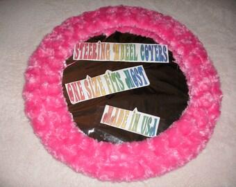 Fuzzy soft hot pink rosebud swirls steering wheel cover