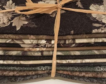 Japans fabric bundle in Browns, Green and Cream 12 piece Fat Eighth Quarter Bundle