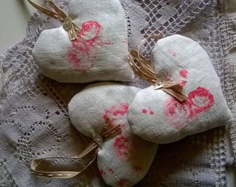 Antique Floral Linen Lavender Filled Heart