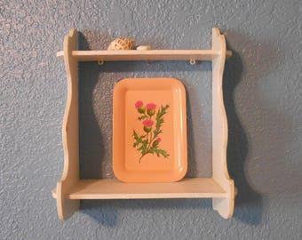 Vintage two tier wooden shelf, Mid-century shelf, Wall decor, Shabby Chic, Nursery decor, Wooden shelf, Props, Staging