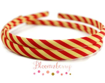 7 mm Stripe Headbands - Toddler/Girl Size - Yellow/Red Color - Girl Headband - Wrap Plastic Headband -Hair Accessories Supplies
