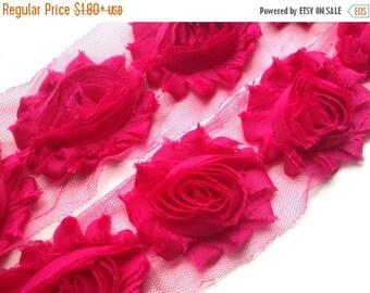 "Xmas SALE 15% OFF 2.5"" Shabby Rose Trim - Fuchsia Color - Dak Pink Shabby Rose Trim - Fuchsia Shabby Rose Trim -Chiffon trim -Hair Accessori"