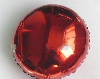 Balloon round Mylar red aluminum metal 45cm