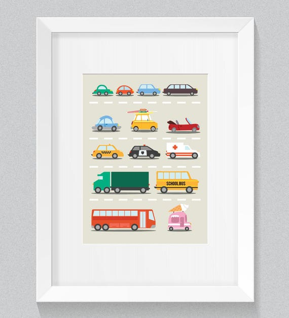 Little Baby Boy's Beep Beep Many Cars and Trucks Neutral tones Nursery Children's Art Simple Minimalist Print - Digital Instant Download