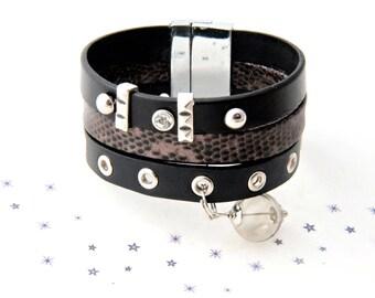 blown glass grey python print leather Cuff Bracelet
