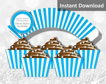 Turquoise, White Stripe Cupcake Wrapper Instant Download, Circus, Whimsical, Party Decorations