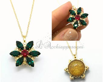 NEW Anastasia Together In Paris Necklace - Anastasia cosplay - miniature - Once Upon a Dicember - Romanov - brass flower - EMERALD green