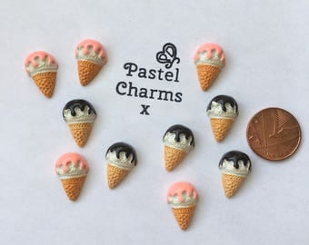 Pack of 10 resin ice cream embellishments