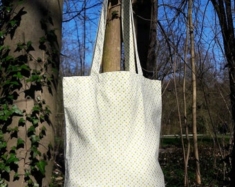 tote bag / bag cotton green peas