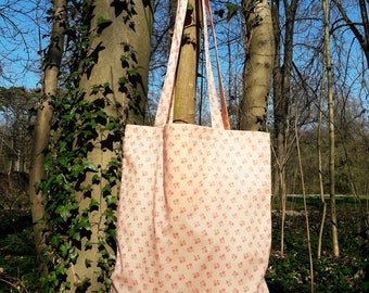 tote bag / orange floral cotton tote bag