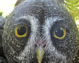 Great Grey Owl Rock (Freestanding) OOAK